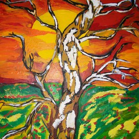Archna Jaideep Singh: 'Sunrise', 2008 Acrylic Painting, Scenic. Artist Description:  The composition comprises acrylic paints on canvas and reflects the intense relationship between the sun and the earth.  ...
