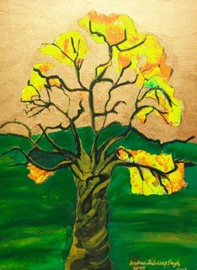 Archna Jaideep Singh: 'Tree of Life', 2007 Acrylic Painting, Scenic.     The composition comprises acrylic paints on canvas. The yellow orange blossoms depict the fruition of life in its richness while the green and copper provide the tranquil and peaceful foundation for existence. ...