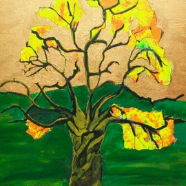 Archna Jaideep Singh: 'Tree of Life', 2007 Acrylic Painting, Scenic. Artist Description:     The composition comprises acrylic paints on canvas. The yellow orange blossoms depict the fruition of life in its richness while the green and copper provide the tranquil and peaceful foundation for existence. ...