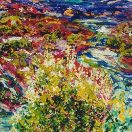 Mary Hatch: 'Abiqui Stream', 2008 Acrylic Painting, Landscape. Artist Description:  Part of the New Mexico Series. Painting of the Abiqui River, close to Ghost Ranch. Brilliant colors, inspired by the mountains in the area. ...