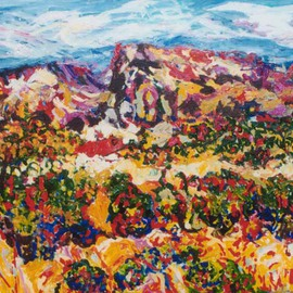 Mary Hatch: 'Ghost Ranch Mesa', 2008 Acrylic Painting, Landscape. Artist Description:  Part of the Southwest- New Mexico Series. Painting of Ghost Ranch. Brilliant colors, inspired by the mountains and arrid regional cactus in the area....