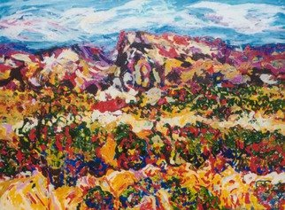 Mary Hatch: 'Ghost Ranch Mesa', 2008 Acrylic Painting, Landscape. Artist Description:  Part of the Southwest- New Mexico Series. Painting of Ghost Ranch. Brilliant colors, inspired by the mountains and arrid regional cactus in the area. ...