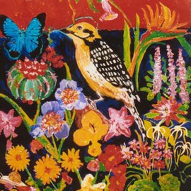 Mary Hatch: 'Golden Woodpecker', 2012 Acrylic Painting, Birds. Artist Description:  Part of the Bird series. Golden Woodpecker surrounded by flowers, a butterfly, and a Southwest red mountain in the background. Bold brilliant colors....