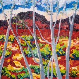 Mary Hatch Artwork Looking Through Aspen Trees, 2008 Acrylic Painting, Landscape