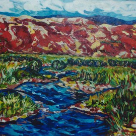Mary Hatch: 'Meandering Stream', 2016 Acrylic Painting, Landscape. Artist Description:    Part of the New Mexico Series.  Painting of the Southwest.  Brilliant colors, inspired by the mountains in the area.      ...