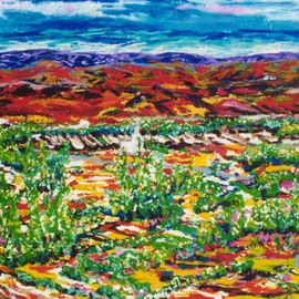 Mary Hatch: 'Mexico Oasis', 2009 Acrylic Painting, Landscape. Artist Description:   Part of the New Mexico Series.  Painting of the Southwest.  Brilliant colors, inspired by the mountains in the area.     ...