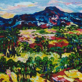 Mary Hatch: 'New Mexico Vista', 2016 Acrylic Painting, Landscape. Artist Description: Part of the New Mexico Series. Painting of the Taos, New Mexico area. Brilliant colors, inspired by the mountains in the area....