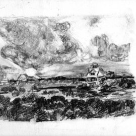 Mary Hatch Artwork North Topsail Beach Alligator Bay, 2014 Graphite Drawing, Landscape
