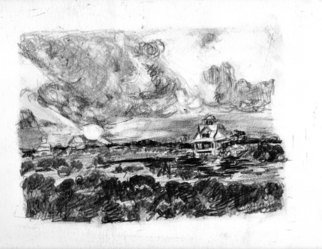 Mary Hatch: 'North Topsail Beach Alligator Bay', 2014 Graphite Drawing, Landscape.  Pencil Sketch of Alligator Bay which is located across the street from North Topsail Beach. ...