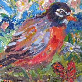 Mary Hatch: 'Spring Robin', 2016 Acrylic Painting, Birds. Artist Description:  Part of the Bird Series. Robin with flowers, butterfly, mountain in the background. Impressionist colors. ...