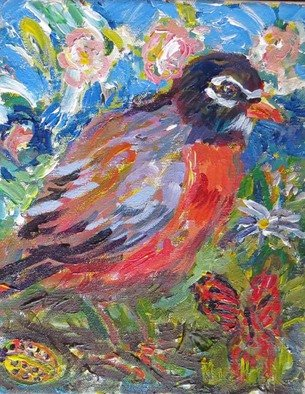 Mary Hatch: 'Spring Robin', 2016 Acrylic Painting, Birds.  Part of the Bird Series. Robin with flowers, butterfly, mountain in the background. Impressionist colors. ...