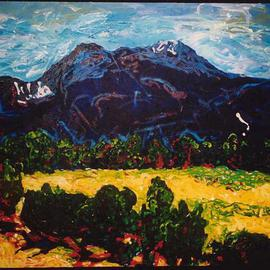 Mary Hatch: 'Taos Mountain', 2005 Acrylic Painting, Southwestern. Artist Description: Taos Roadside is part of the New Mexico series of paintings. The paint is applied thick and the painting is painted on the sides to be hung with or without a frame....