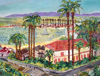 Mary Hatch: 'View of Catalina Island', 2008 Acrylic Painting, Seascape. Artist Description: Ocean Series. Pacific Coast Painting. Corona Del Mar view overlooking Balboa Island and in the Pacific Ocean, Catalina Island in the distance. Impressionist colors with palm trees and beautiful hacienda like house....