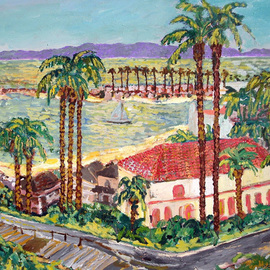 Mary Hatch Artwork View of Catalina Island, 2008 Acrylic Painting, Seascape