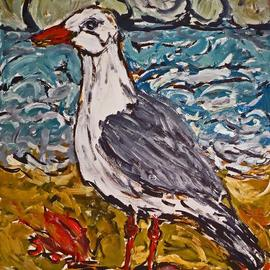 Mary Hatch: 'sea gull with crab', 2017 Acrylic Painting, Birds. Artist Description: Seagull on the Beach with crab on the sand, ocean in the background and turbulent sky. Work on Paper. ...