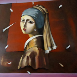 Hebe Beatrice Alioto: 'Hommage to Vermeer ', 2004 Oil Painting, Figurative. Artist Description:        acrylic painting     figutatif art oil painting, 120x120cm  ...