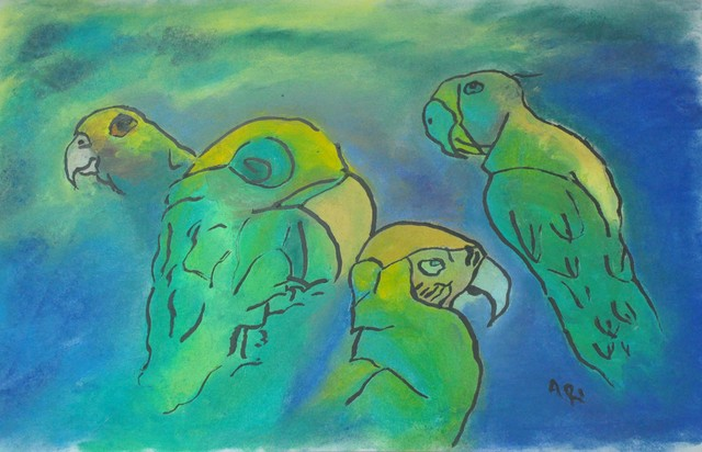 Ari Rajsbaum  'Parrots', created in 2018, Original Painting Other.