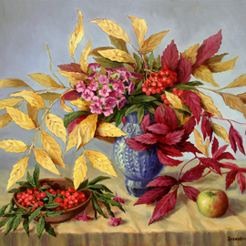 Arkady Zrazhevsky: 'Autumn leaves and branch of a phlox', 2010 Oil Painting, Still Life. Artist Description:  Autumn, leaves, still- life, mountain ash, phloxes, flowers, realism  ...