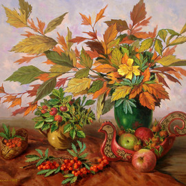 Arkady Zrazhevsky: 'Still Life with a dogrose', 2007 Oil Painting, Still Life. Artist Description:  Apples, autumn leaves, hohloma, leaves, autumn leaves, flowers, a bouquet, a cloth, a dogrose ...