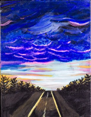 Allison Karczynski: 'night drives', 2016 Acrylic Painting, Sky. Artist Description: driving skiesnight...