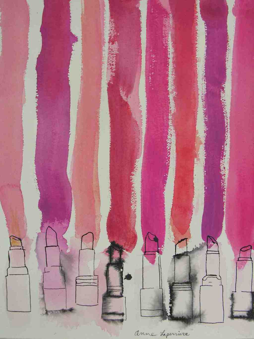 Anne Laperriere Artwork Lipstick Stripes Original