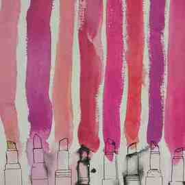 Anne Laperriere Artwork Lipstick Stripes, 2006 Ink Painting, Fashion
