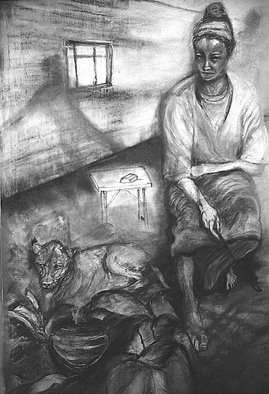 Arlene Rabinowitz: 'Food for Thought', 1996 Pastel, Figurative. Artist Description:  Exploring the hearth and home, spirit of a wonderer in the African Bush      ...