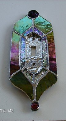 Arnold Cecchini: 'light switch plate', 2018 Stained Glass, Fantasy. Artist Description: Materials used to construct items are stained glass, mirror, copper, and lead.  Ownersor Renters just remove your old switch plate with your new one, it will fit.  Make sure you measure the size of this item and compare the area you wish to place the item.  All solder ...