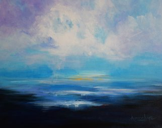 Arrachme Art: 'Clear Skies', 2016 Acrylic Painting, Seascape.  Painted seascape, peaceful, day on the water. horizon, water, sky, blue, paintings, clouds, arrachme, arrachme art...