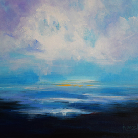 Arrachme Art Artwork Clear Skies, 2016 Acrylic Painting, Seascape
