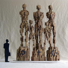 Rafael Arrieta-eskarzaga: 'Harmony', 2007 Wood Sculpture, Abstract Figurative. Artist Description:   We are all an extension of one another:  Three major religions co- existing.  Maquette for monumental bronze.  ...
