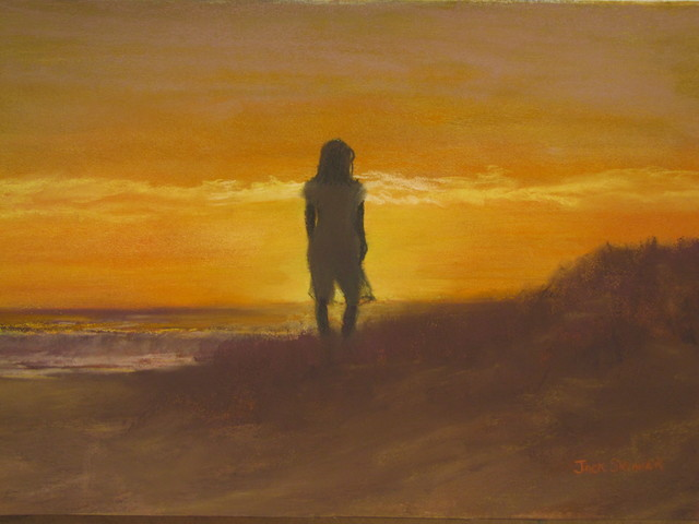 Jack Skinner  'Girl On The Dunes', created in 2013, Original Pastel.