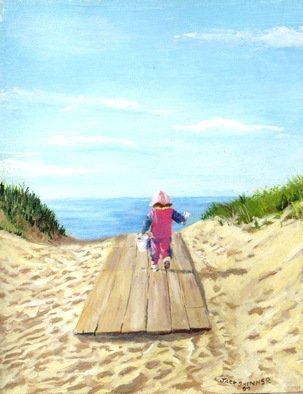 Jack Skinner: 'march to the beach', 2006 Acrylic Painting, Beach. Artist Description: My daughter on her way to the beach determined to build a sand castle and catch some hermit crabs. ...