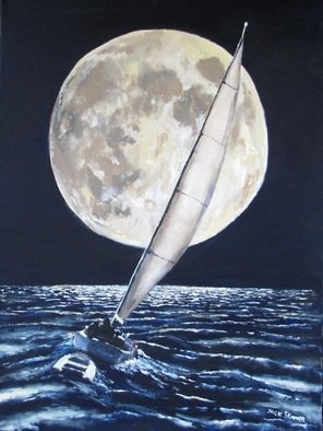 Jack Skinner: 'under sail under full moon', 2013 Acrylic Painting, Sailing.