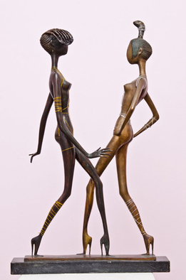 Zakir Ahmedov Artwork Black And White Beauties Bronze 2002year 40x23x15in FOR SALE, 2002 Bronze Sculpture, Figurative