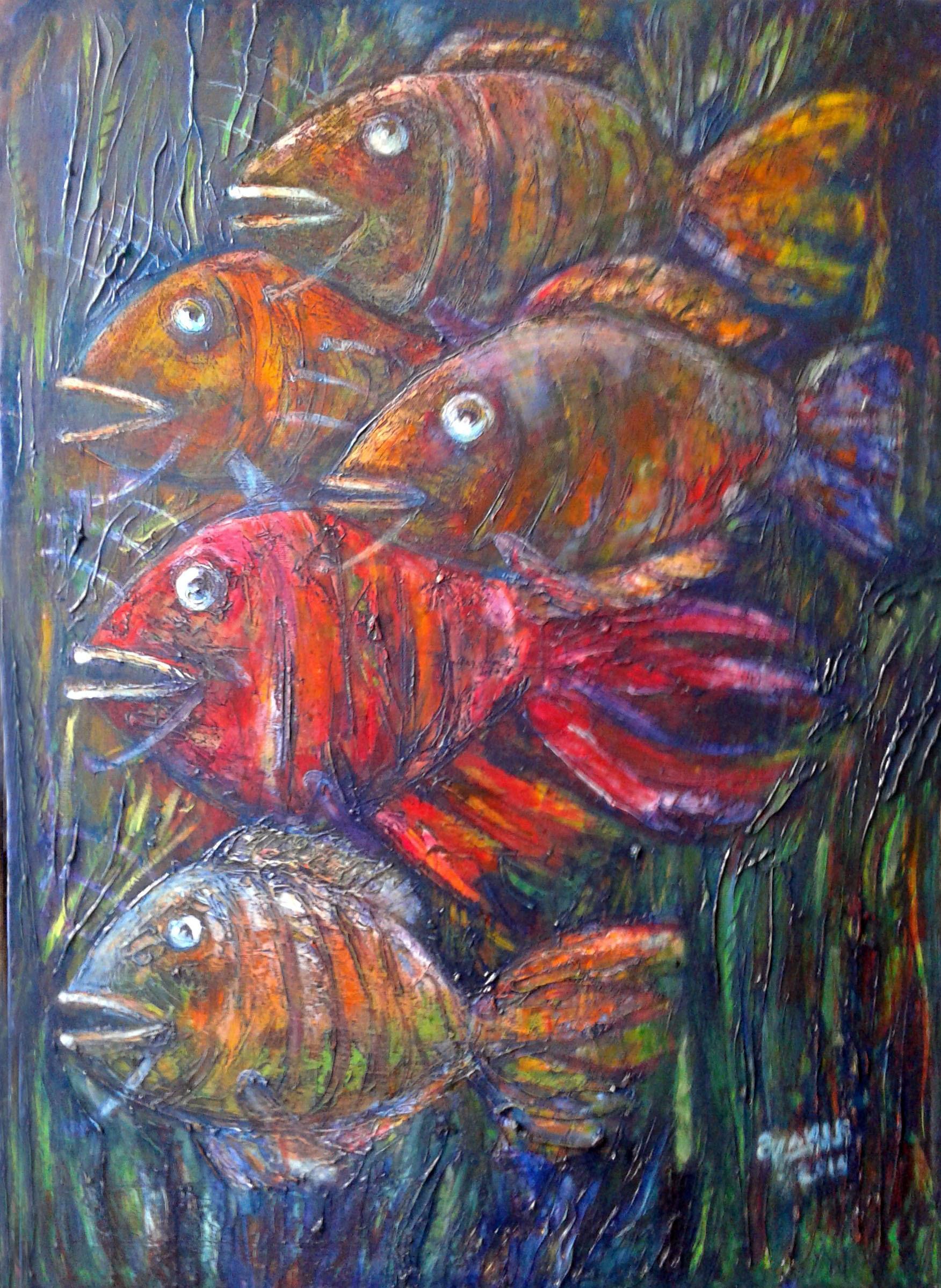 Zakir ahmedov 39 fish 2016yea 27x19in original painting oil for Original sculptures for sale