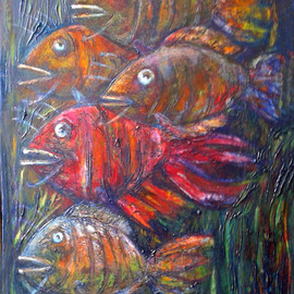 Fish 2016yea 27X19in Original Painting Oil on Canvas FOR SALE
