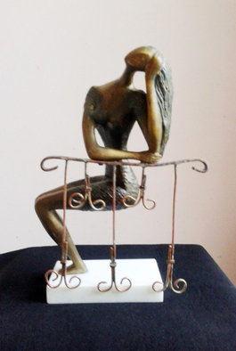 Zakir Ahmedov Artwork Girl in the Balcon Mixed Metals 1998year15x10x6in FOR SALE, 1998 Bronze Sculpture, Figurative