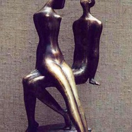 Zakir Ahmedov: 'I am and SHE', 1997 Bronze Sculpture, nudes. Artist Description:  . I am and SHE1997 year. bronze 45X25X22cm. ...