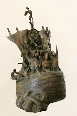 Bronze Sculpture by Zakir Ahmedov titled: Nuhs ship, created in 2002
