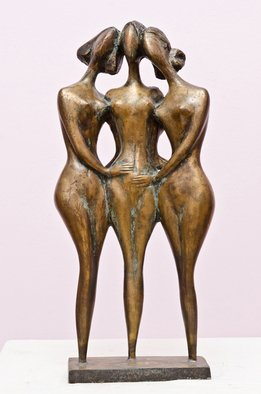 Zakir Ahmedov Artwork Three friends, 1999 Bronze Sculpture, Nudes