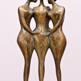 Zakir Ahmedov: 'Three friends', 1999 Bronze Sculpture, nudes. Artist Description:  Three friends 1999year. bronza. . 56x28x16cm...
