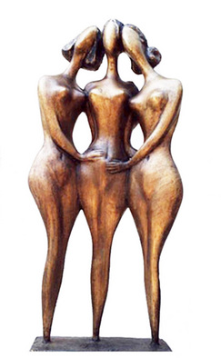 Bronze Sculpture by Zakir Ahmedov titled: Three friends , 1999