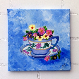 Tea cup with pansies By Amans Honigsperger