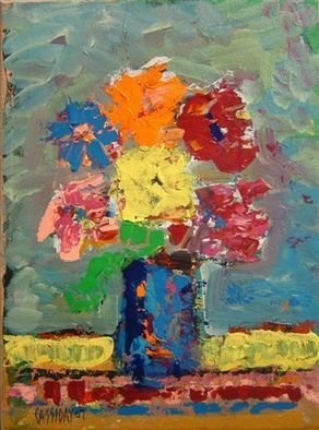 Bud Cassiday: 'Flowers', 2007 Acrylic Painting, Floral.  Colorful impressionist flowers. ...
