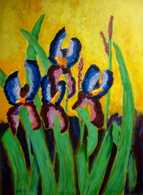 Bud Cassiday  'Irises ', created in 2008, Original Painting Acrylic.