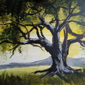Janet Lapelusa: 'tree in summer', 2020 Acrylic Painting, Trees. Artist Description: A willow type tee in a meadow ...