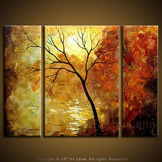 Landscape Acrylic Painting by Lena Karpinsky Title: Autumn Leaves, created in 2007