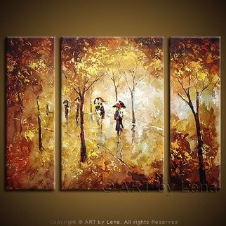 Landscape Acrylic Painting by Lena Karpinsky Title: Autumn Rain, created in 2007