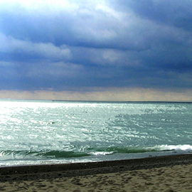 Linda Tenenbaum: 'Stormy Weather', 2007 Color Photograph, Landscape. Artist Description:  Even wintertime at the beach has a certain beauty of its own. The dark clouds create a soft azure hue in the water. This giclee print on watercolor paper has the lush look of a watercolor print. ...